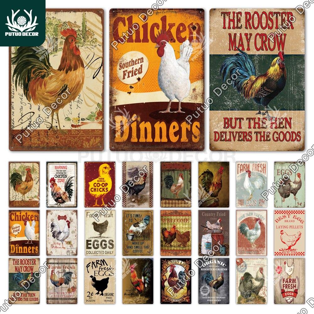 Жестяной знак в виде курицы, винтажный металлический знак, табличка, металлический винтажный фермерский Настенный декор, петух, ретро метал...