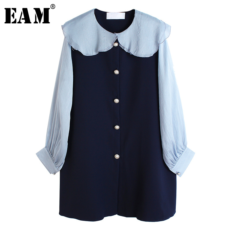 [EAM] Womencontrast Color Split Big Size Temperament Dress New Lapel Long Sleeve Loose Fit Fashion Tide Spring Autumn 2020 1S286