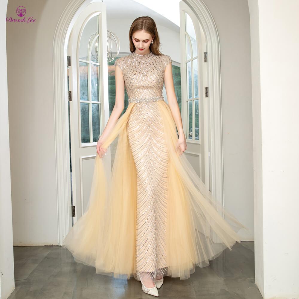 vestido-de-festa Dubai Style Prom Dress Full Crystal Pearl Beaded Long Prom Dresses High Collar Full Sleeves Formal Party Gown