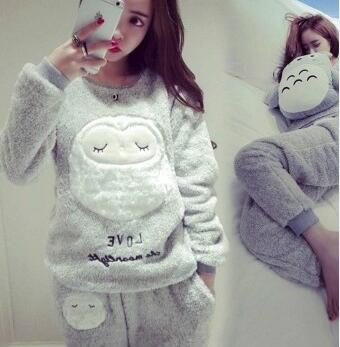 Women Pajamas Set Thick Flannel Warm Female Winter Pajama Set Long Sleeve Full Trousers Two Piece Pajamas Animal Cartoon