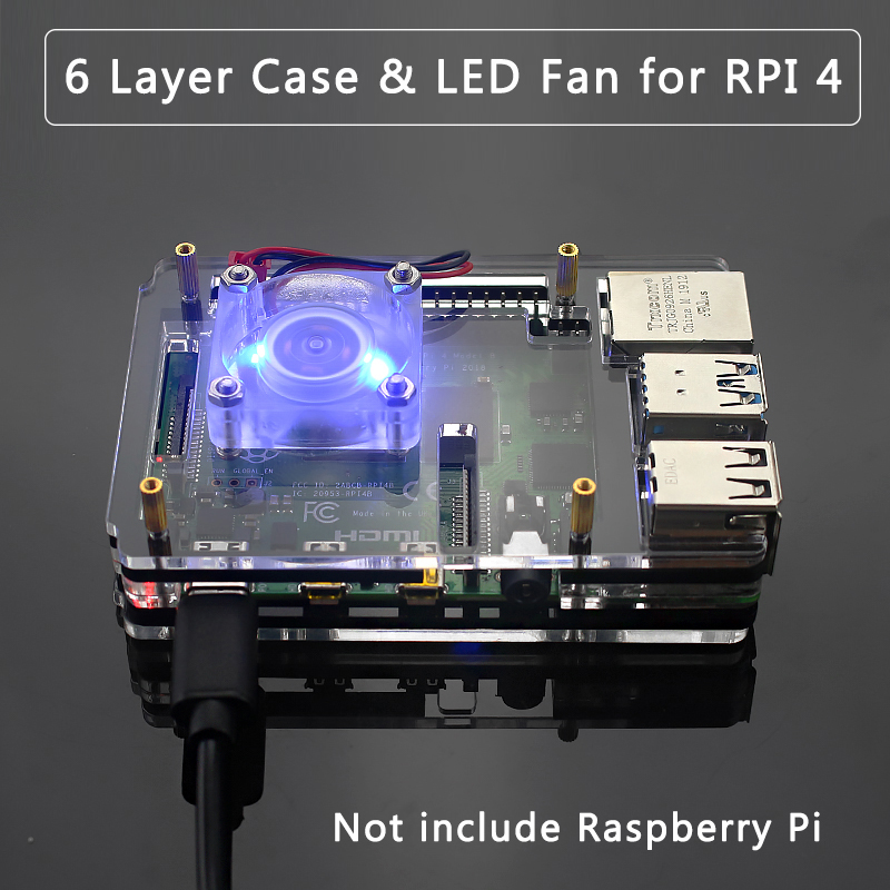6 Layer Acrylic Case For Raspberry Pi 4 Transparent Shell Housing Support Blue LED Cooling Fan Cooler For Raspberry Pi 4 Model B
