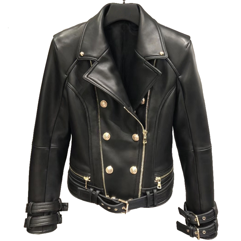 Genuine Leather Jacket Women Autumn Spring Zipper Belted Moto Jacket Streetwear Ladies' Real Lamb Sheep Leather Jackets Coat