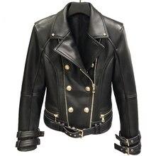 Genuine Leather Jacket Women Autumn Spring Zipper Belted Moto Jacket Streetwear Ladies Real Lamb Sheep Leather Jackets Coat