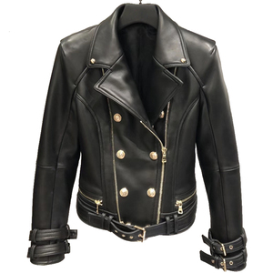 Image 1 - Hakiki deri ceket kadın sonbahar bahar fermuar kuşaklı Moto ceket Streetwear bayan gerçek kuzu koyun DERİ CEKETLER ceket