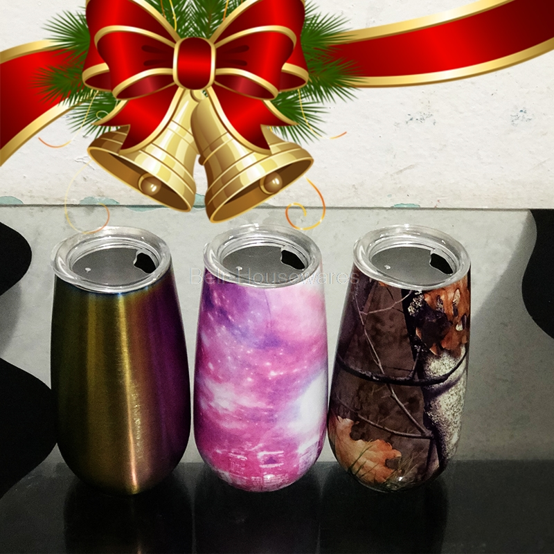 6oz Stainless Steel Wine Tumbler With Lids Vacuum Flask For Wine And Beer