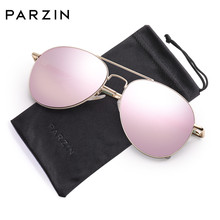 PARZIN Classic Mirroed Women Aviation Sunglasses Men Dark Shades With UV 400 Protection Metal Frame & Eyewear Pouch PZ9101(China)