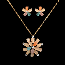 Bridal Jewelry Sets Stud Earrings Opal Necklace Set for Necklace Women Pendientes Wedding Jewelry Sets Gold Plated Earings bridal jewelry sets wedding necklace earring for brides party accessories gold plated crystal decoration women