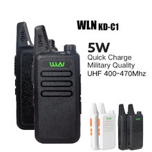 2 pces wln KD-C1 walkie talkie uhf 400-470 mhz 5w potência 16 canal kaili mini handheld transceptor c1 rádio em dois sentidos