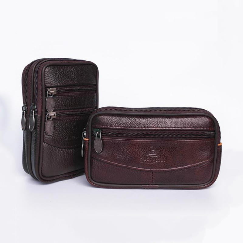 Men's Leather Waterproof Waist Bag Mobile Phone Bag Wear Belt Multifunction Old Change Key Bag Wallet New Waist Bag