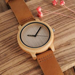 Image 3 - BOBO BIRD Wood Watch Men A22 Bamboo Male Simple Quartz Wristwatch 20mm Leather reloj para hombre