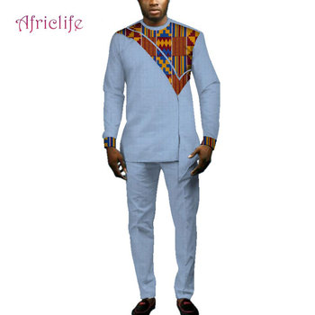 Casual Men African Clothes Top Shirts and Pants Sets Bazin Riche African Design Clothing Dashiki Men 2 Pieces Pants Sets WYN693