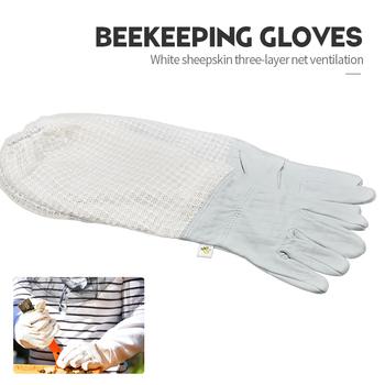 Pszczelarstwo Bee rękawice ogrodowe gospodarstwa pszczoły sprzęt i narzędzia z kompensowane koziej skóry tuleje ochronne pszczelarz tanie i dobre opinie Płótno Pszczelarstwo Rękawice Protective Gloves sheepskin + mesh beekeeping equipment Beekeeping Tools bee hive