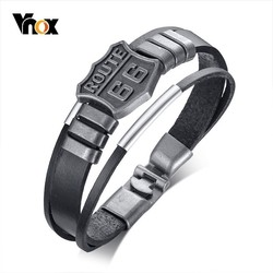 Vnox Stylish US Route 66 Mens Real Leather Bracelet Multi-layer Wrap Bangle Bracelets 8.07