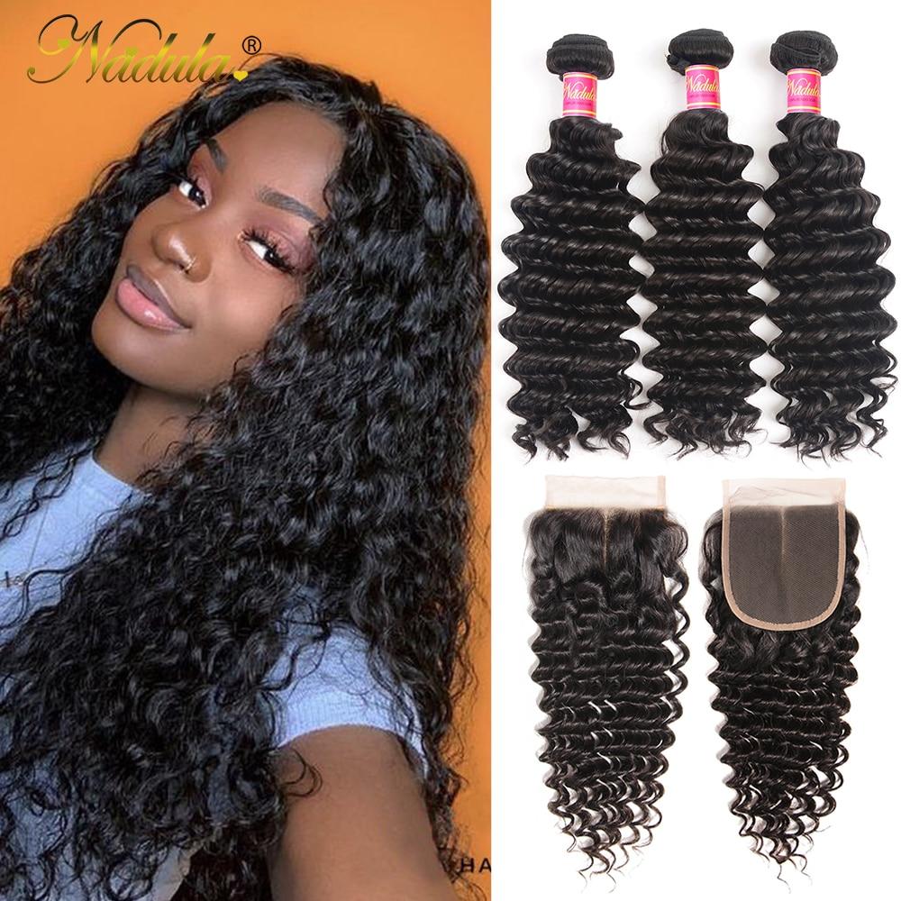 Nadula Hair Lace Closure  Deep Wave Hair Bundles With Closure 3 Bundles With Closure  Bundles With Closure 1