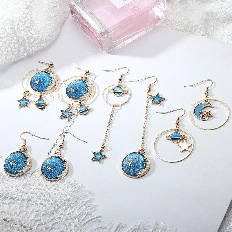 Fashion Earrings In 2020 Blue Starry Sky / Moon / Long Asymmetric Pendant
