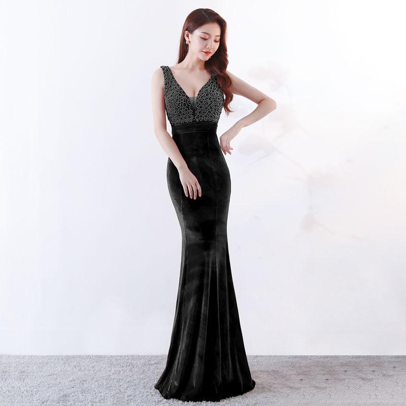 Diepe V hals Mermaid Chinese Avondjurk Lange Zwarte Sexy Oosterse Stijl Party Jurken Meisje Fluwelen Cheongsam Gown Jaarvergadering - 3