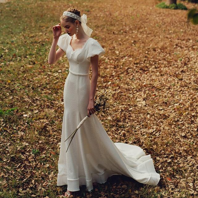 Elegant Sweetheart Collar Short Puff Sleeve Mermaid Bride Dress Simple Backless Slim Bandage Little Trailing Wedding Party Gown 5