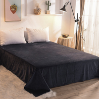 Solid Color Crystal Velvet Warm Flannel Bed Sheet for Winter Single Product Soft Flat Sheet Full Queen size Bed Linen Sheets #s
