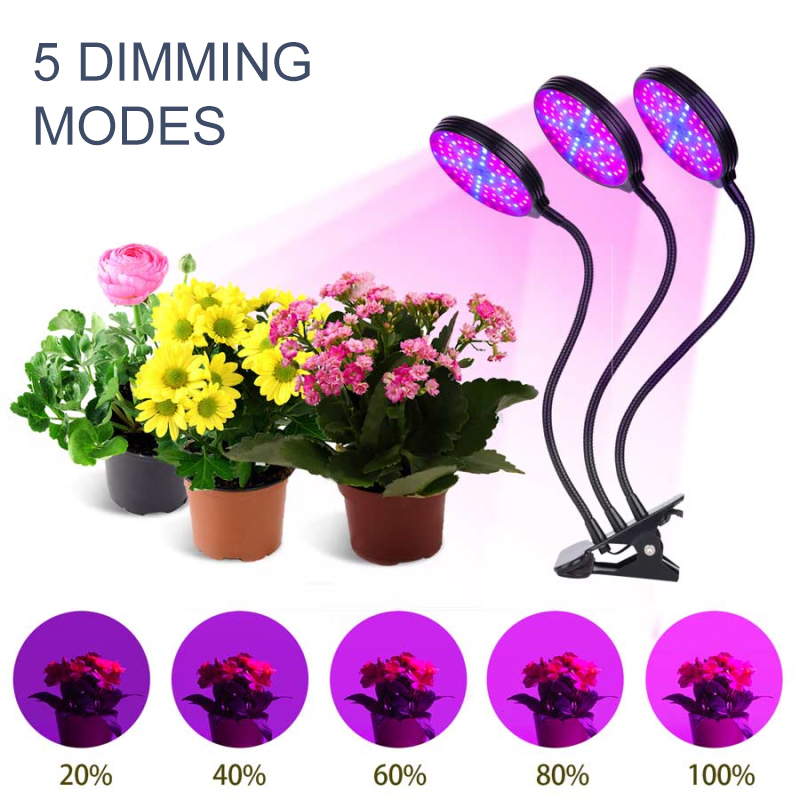 5 Modes Plant Growth Light Lamps Bulb 360-degree Rotary Clip Multi-head Light Waterproof Timing Dimming