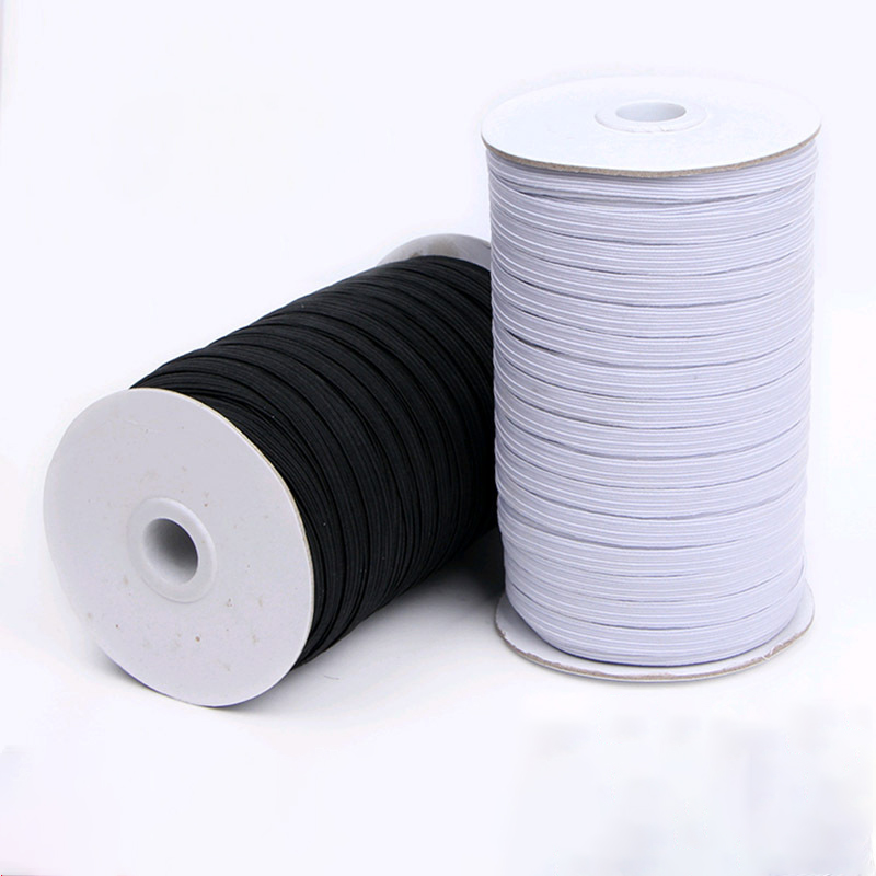 Stretch Rope Masks Rubber-Band Waist-Band Sewing Black Flat White High-Elastic 10mm 12mm