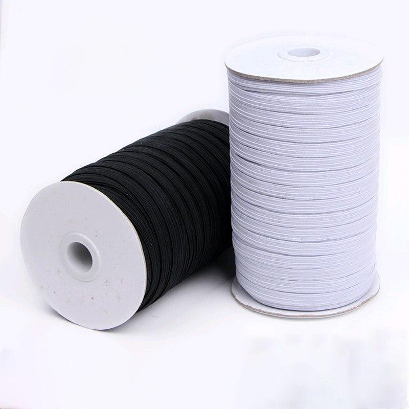 Fascia elastica Maschere Bianco Nero 3 millimetri 5 millimetri 6 millimetri 8 millimetri 10 millimetri 12 millimetri di Alta Elastico Piatto elastico Fascia Della Vita Da Cucire Corda Tratto Maschera FAI DA TE