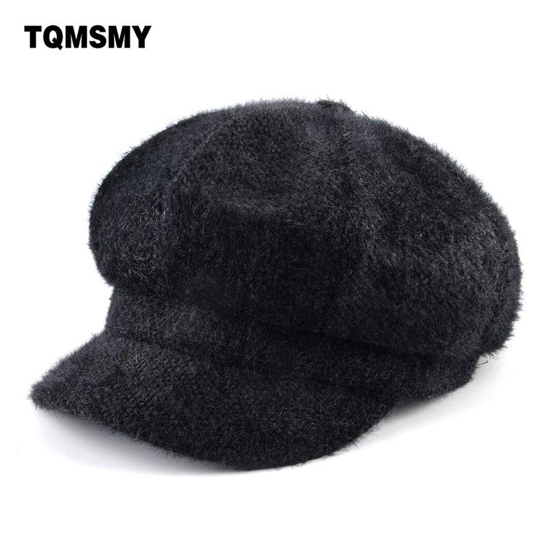 Autumn Women's fashion hat Velvet fabric Octagonal cap gorros planas Double layer Newsboy Cap solid color hats for women Berets