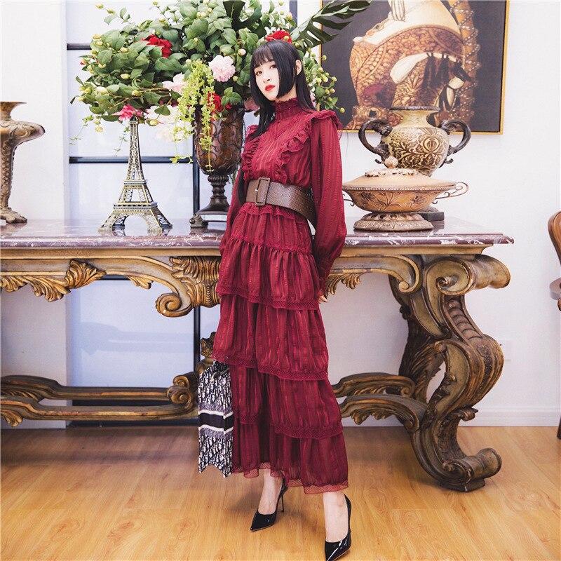 TWOTWINSTYLE богемное платье с оборками для женщин, стоячий воротник, фонарь, длинный рукав, высокая талия, платья для женщин, осень, модная новинка