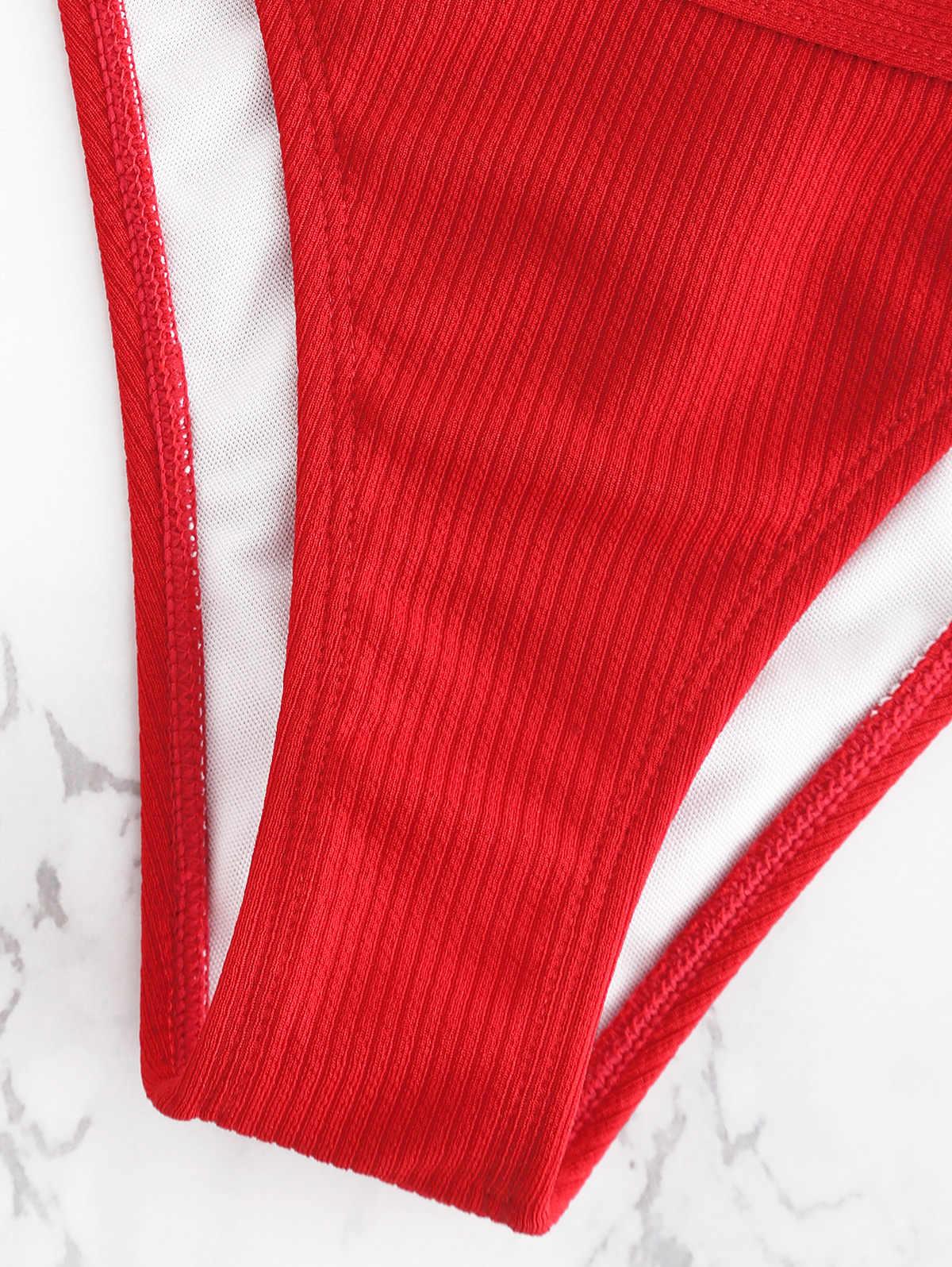 ZAFUL Bikini Hook Ribbed String Bikini Set Kawat Gratis Rendah Pinggang Baju Renang Leher Persegi Baju Renang Empuk Solid Pakaian 2019