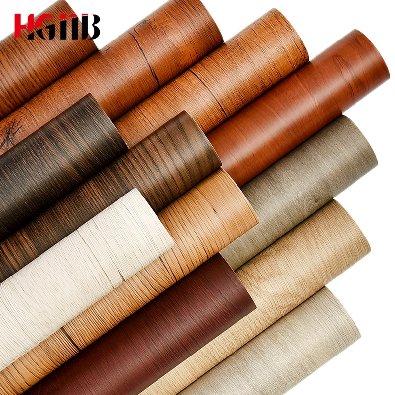 PVC Wood Grain Wallpaper For Kitchen Films Reconditioned Clothes Closet Closet Door Furniture For Home Office Decor Wall Sticker