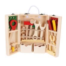 Деревянный набор инструментов для ремонта детей, набор аксессуаров, Образовательное строительство, игрушки для ролевых игр, подарок для детей