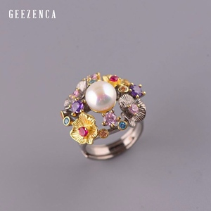 Image 1 - GEEZ925 Sterling Silver Flowers Baroque Pearl Ring Designer Jewelry For Women 2019 New Vintage Romantic Open Ring Party Female