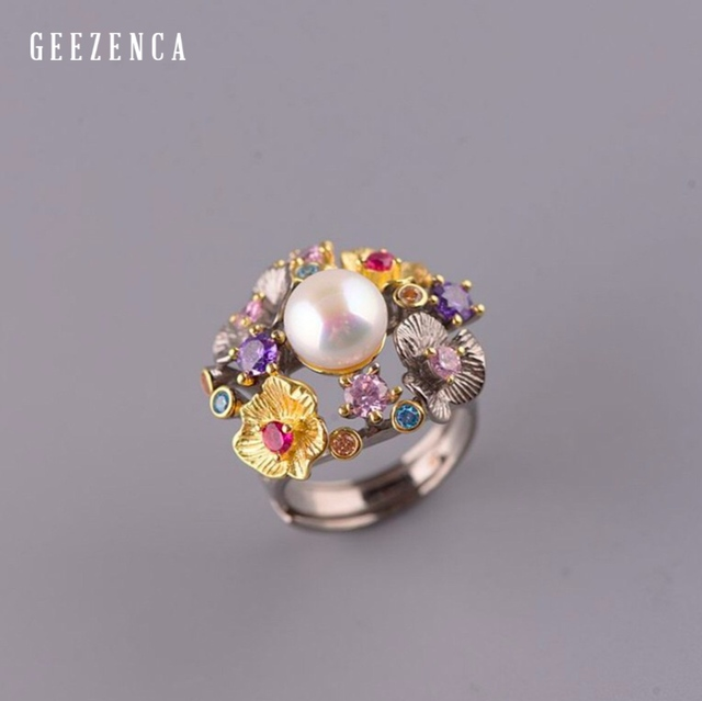 GEEZ925 Sterling Silver Flowers Baroque Pearl Ring Designer Jewelry For Women 2019 New Vintage Romantic Open Ring Party Female