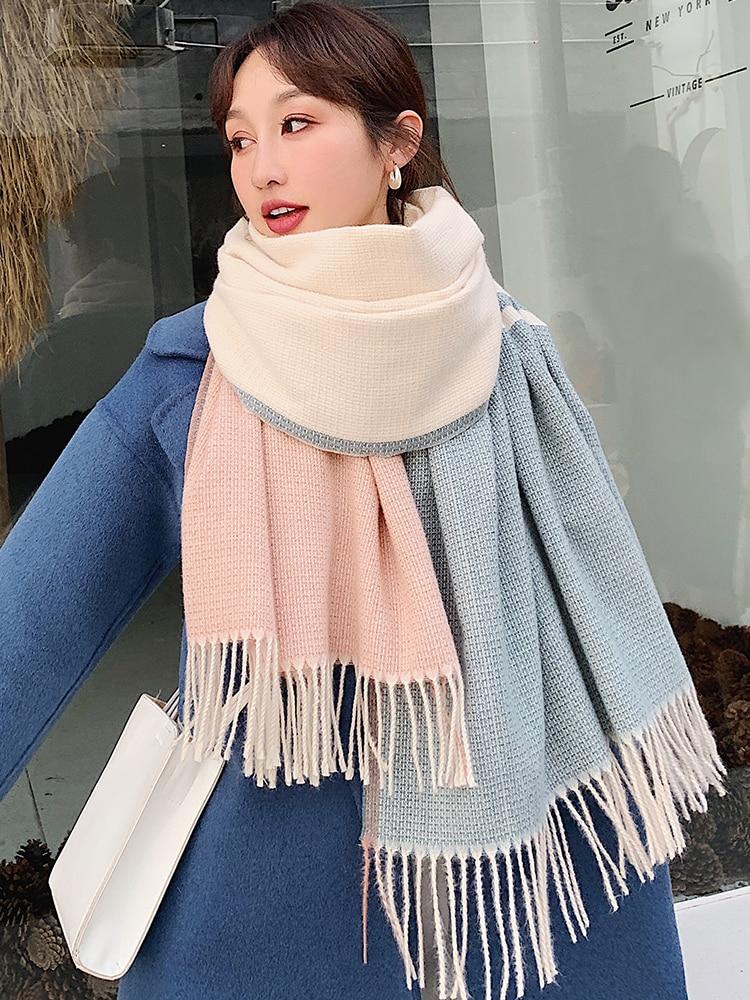 Brand Korean Version Versatile New Scarf Female Thickened Warm Shawl Dual Purpose Student Day Department Bib Autumn Winter  Tiff