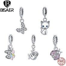 Bisaer argento Sterling 925 Pony Cat coccinella zircone perline misura 4.8mm ciondolo braccialetto per le donne argento 925 creazione di gioielli ECX121