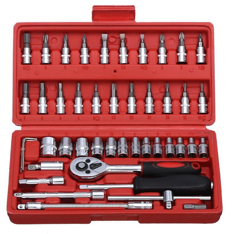 46pcs Socket Ratchet Car Repair Tool Wrench Set Head Ratchet Pawl Socket Spanner Screwdriver Professional Metalworking Tool Kit