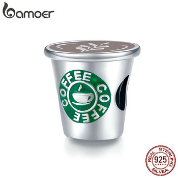bamoer Authentic 925 Sterling Silver I love Cafe Time Coffee Cup Charm for Original Bracelet & Bangle DIY Jewelry SCC1545 - discount item  46% OFF Fine Jewelry