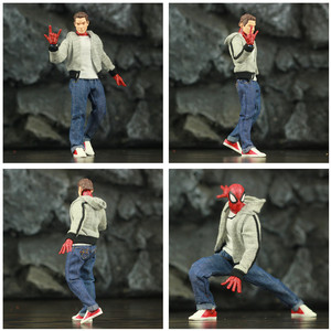 """Image 2 - Aranha peter parker 6 """"figura de ação clássico pano camiseta jeans ko ml s ml lendas comic pizza vingador pai homem brinquedos boneca modelo"""