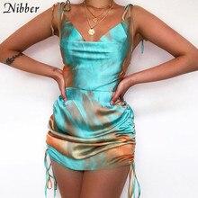 Nibber boho Retro Colorful print high quality Silk dress women Elegant casual streetwear summer ladies tassel bodycon mini dress