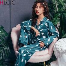 Summer Pyjamas Satin Silk Women Pajamas Sets Pijamas Mujer C