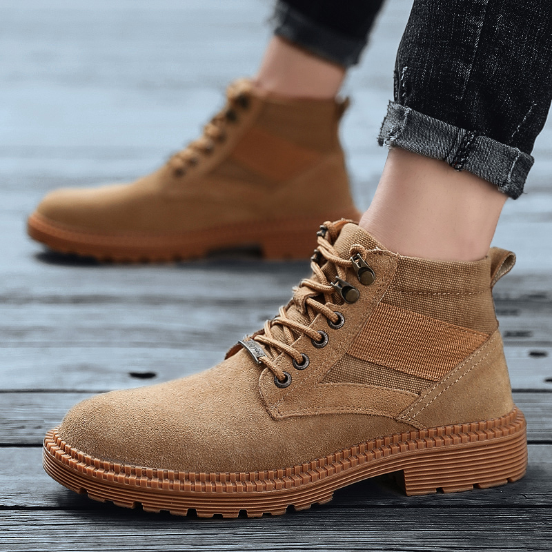 Men Hiking Ankle Shoes Rubber Sole Outdoor Breathable Sport Shoes Lace up Martin Boots Men Work Shoes Tactical Army Boots|Hiking Shoes| |  - title=