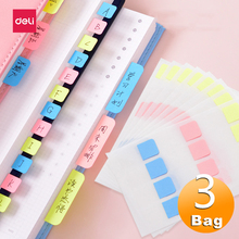 Label Divider Sticky-Notes Index Deli 3-Color Tabs Paper Removable-Indicator School-Supplies