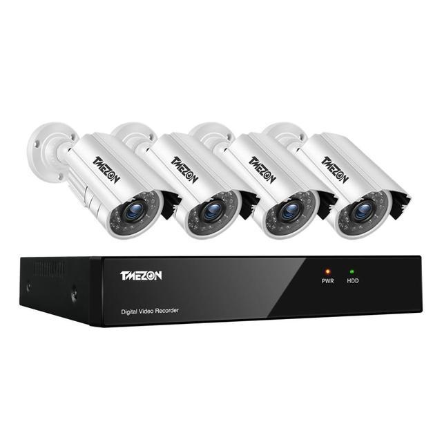 Tmezon cctv sistema 8ch, 4 peças 720p, exterior, à prova de intempéries, câmera de segurança 8ch 1080p dvr, kit dia/noite sistema de vigilância por vídeo