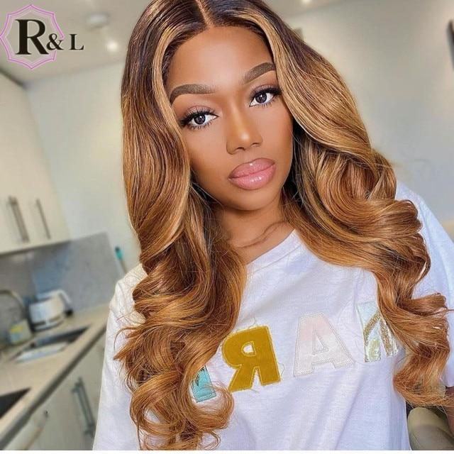 RULINDA-pelucas de cabello humano Remy brasileño, cabello con onda de encaje frontal, Color degradado, parte media prearrancada 3