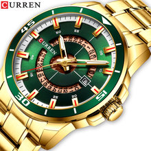 Мужские наручные часы curren золотисто зеленые кварцевые из