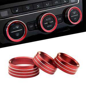 3*Air Condition&Audio Switch Knob Trim Ring for Dodge Challenger/Charger 15+ Red