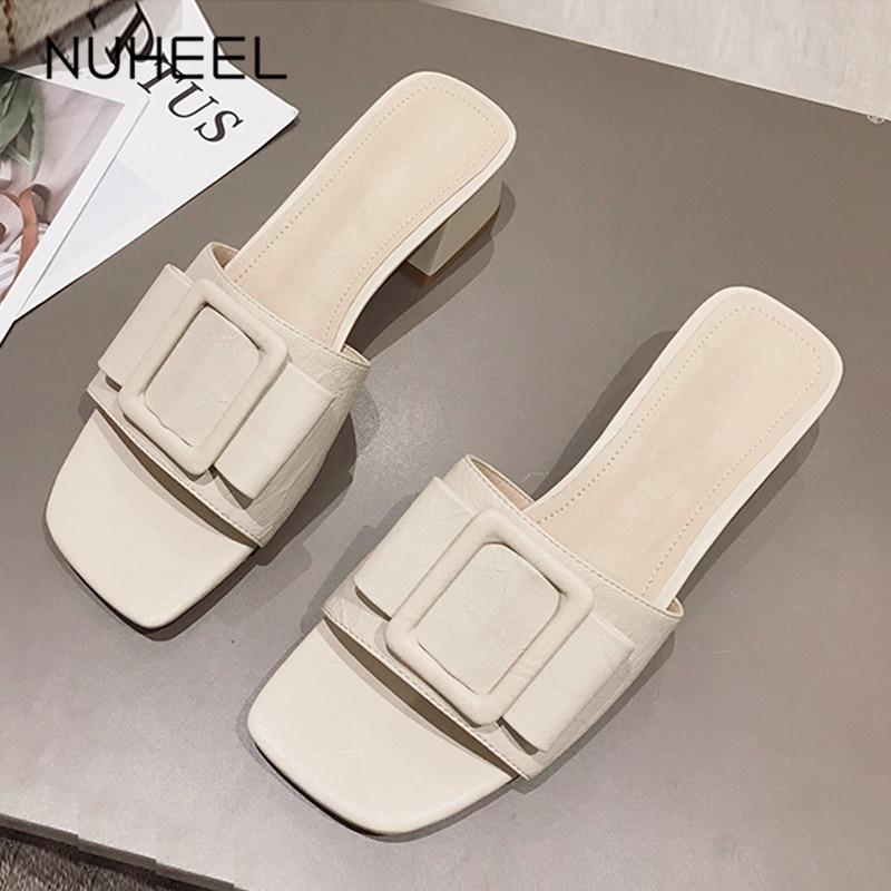 NUHEEL Women's Shoes Summer New Intellectual Bow Cool Slipper Increased Thin Square Heel Shoes Women обувь женская летняя