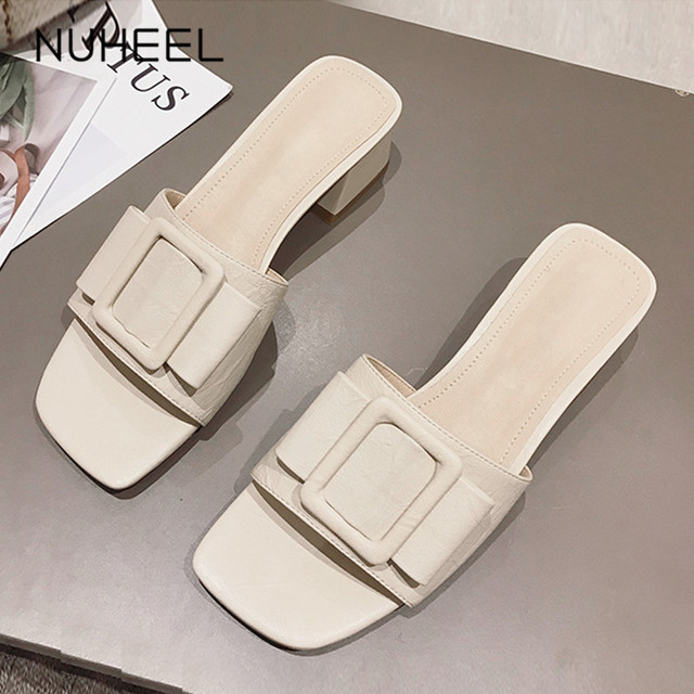 NUHEEL women's shoes summer new intellectual bow cool slipper increased thin square heel shoes women обувь женская летняя