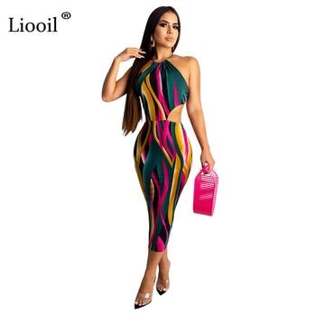 Liooil Sexy Estampado Largo Maxi Vestido Con Bolsillos Otoño
