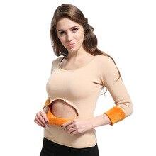 3XL зимнее бархатное женское термобелье с длинным рукавом, толстый теплый базовый пуловер для женщин, вторая кожа размера плюс, Термоодежда