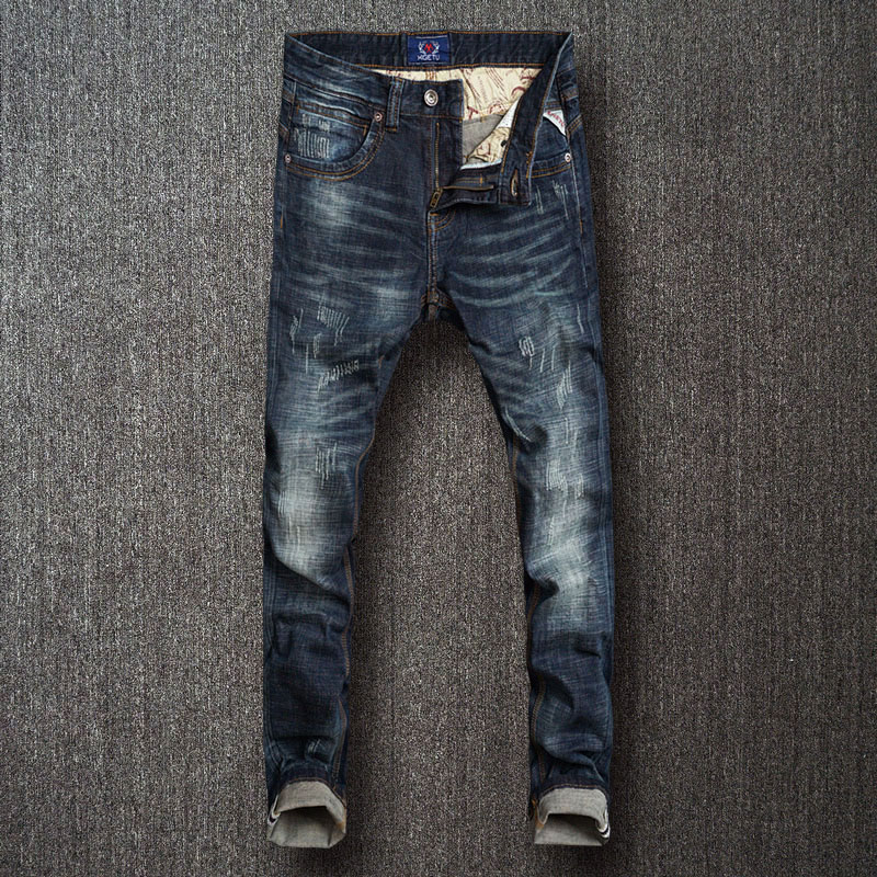 Italian Style Fashion Men Jeans High Quality Black Blue Color Slim Fit Elastic Ripped Jeans Men Vintage Designer Jeans Homme